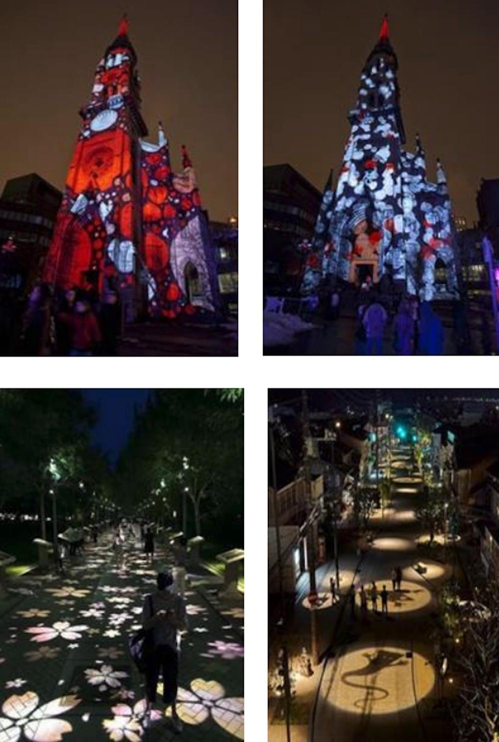 nighttime lighting installation projection