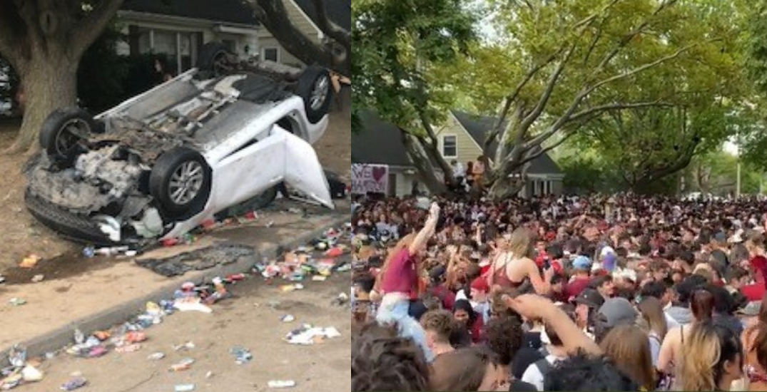 """Car flipped, seven arrested after 5,000-person """"fake homecoming"""" at McMaster"""