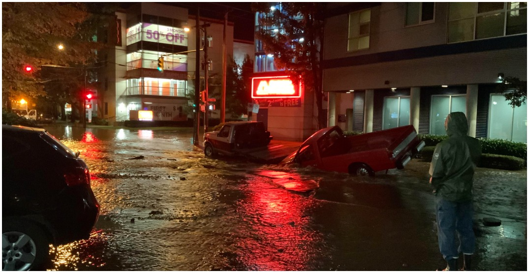 Trucks swallowed by pothole during water main break in Vancouver
