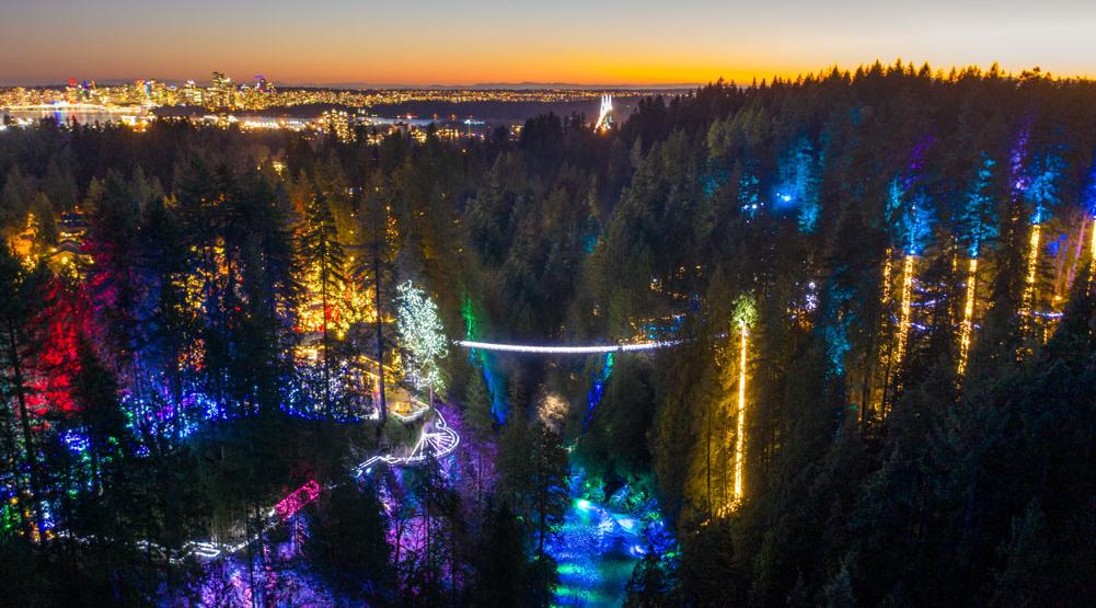 Capilano Suspension Bridge will be beautifully illuminated for the holidays