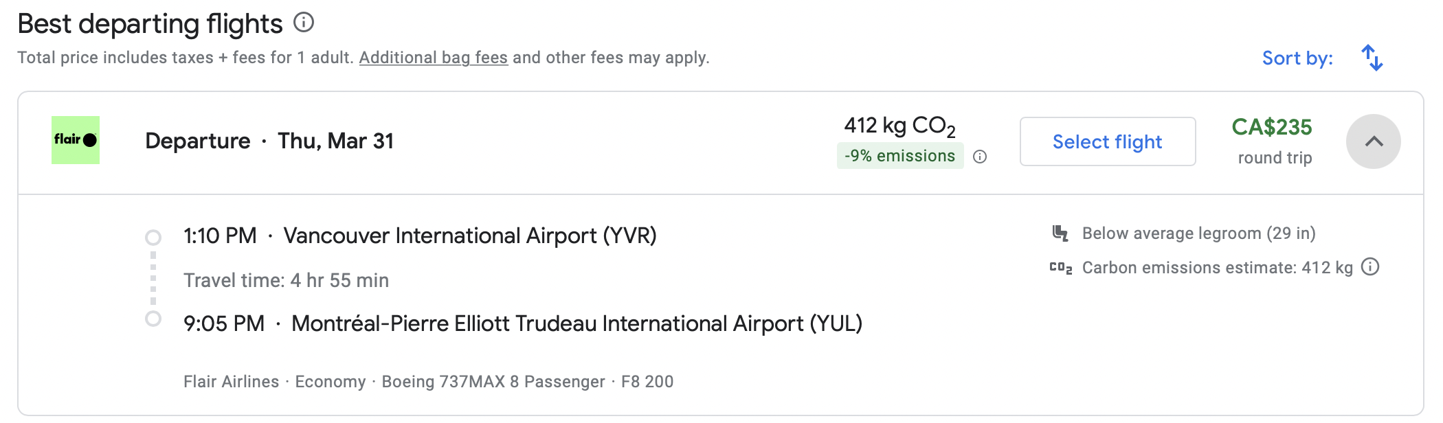 vancouver Montreal flight deal