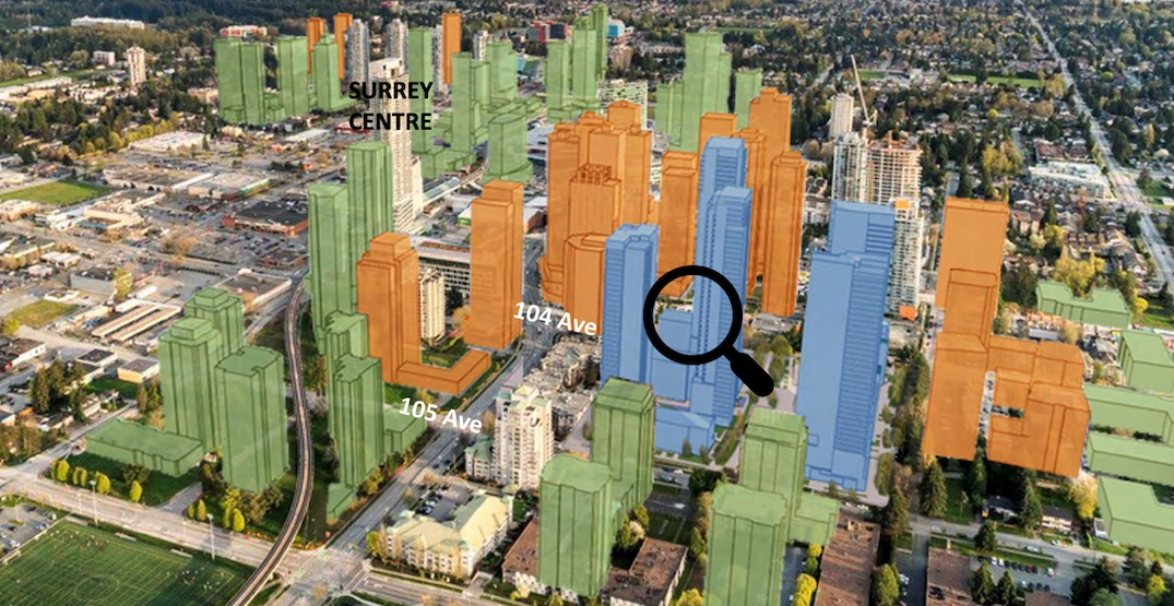 Nearly 2,200 homes in six buildings proposed for Surrey City Centre