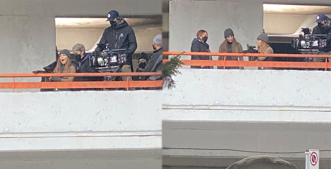 Double trouble: Jennifer Lopez and stunt double seen filming in Vancouver