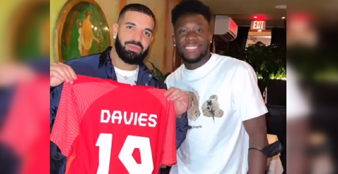 Drake hung out with the Canadian soccer team after their big win last night