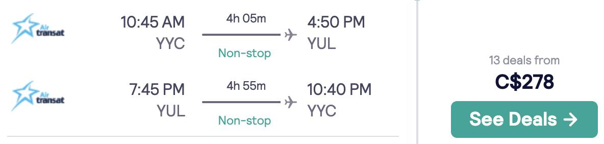 Calgary Montreal flights