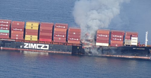 The coast guard evacuated 16 people from container ship fire near Victoria (PHOTOS)