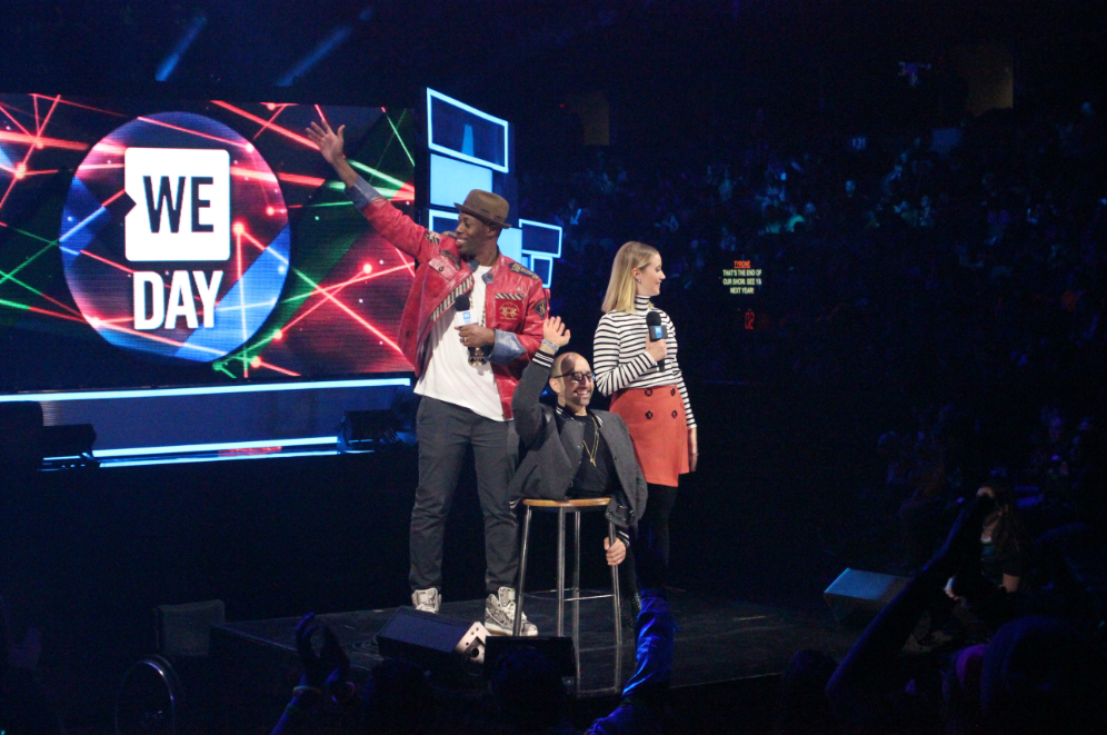 Hosts Kardinal Offishall (left), Spencer West (centre) and Liz Trainnear (right)