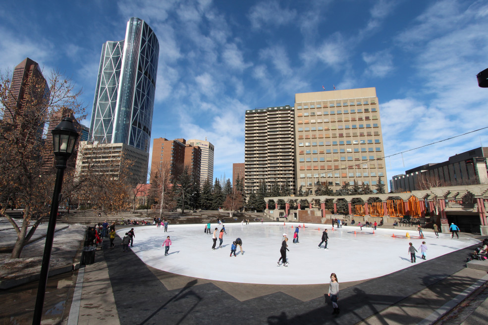outdoor skating at Olympic Plaza in Calgary