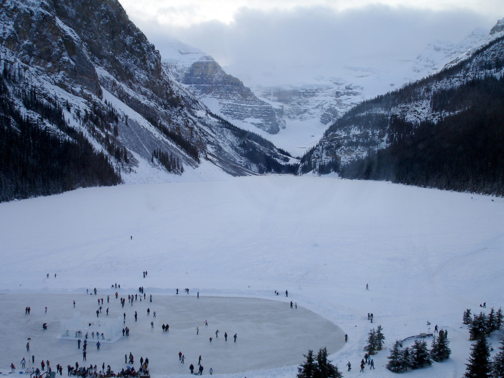 skating at Lake Louise