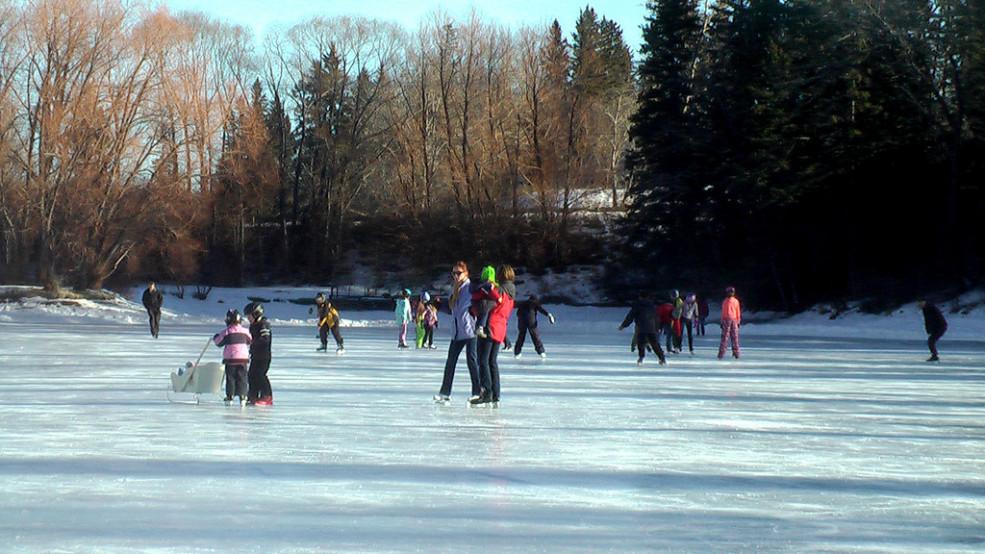 skating at Bowness Lagoon in Calgary