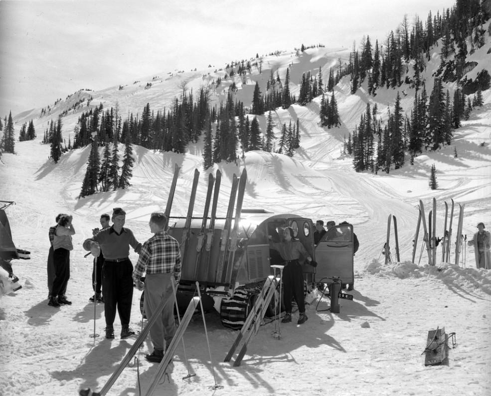 Skiing at Sunshine Village in 1953