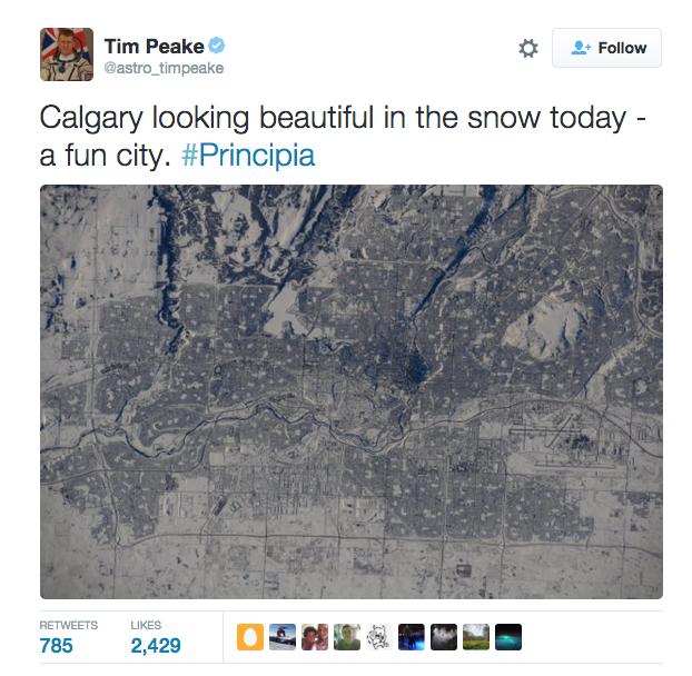 British Astronaut Tim Peake comments NASA photo of Calgary
