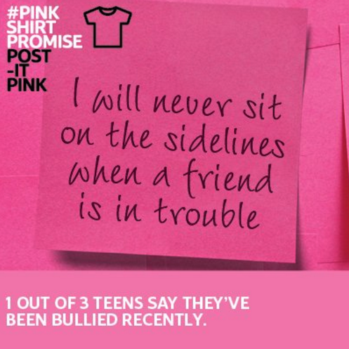 Image: #PinkShirtDay Twitter post