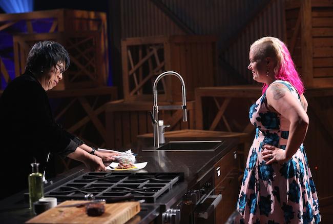 Chef Alvin tastes April Lee Baker's dish (Photo courtesy Bell Media)