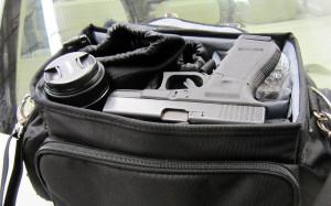 This gun was found 'hidden' in this camera case (CBSA)
