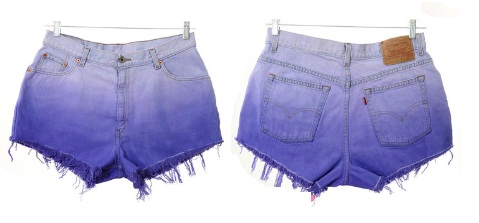 Levi's purple ombre shorts from Etsy