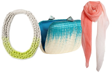 ombre woven necklace, clutch, scarf