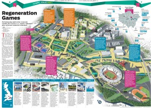 A map of the cluster of venues and facilities built for the Olympic Games in East London.