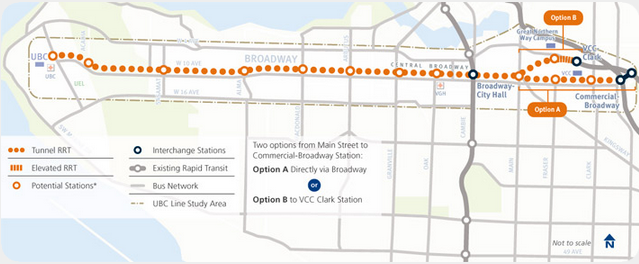 Broadway-UBC SkyTrain Route Options