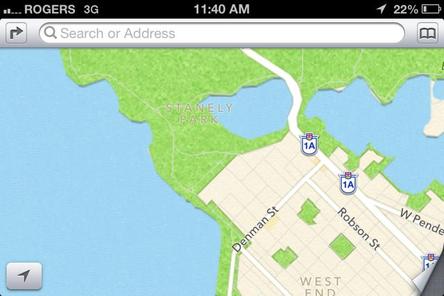 Stanley Park Apple Maps Fail