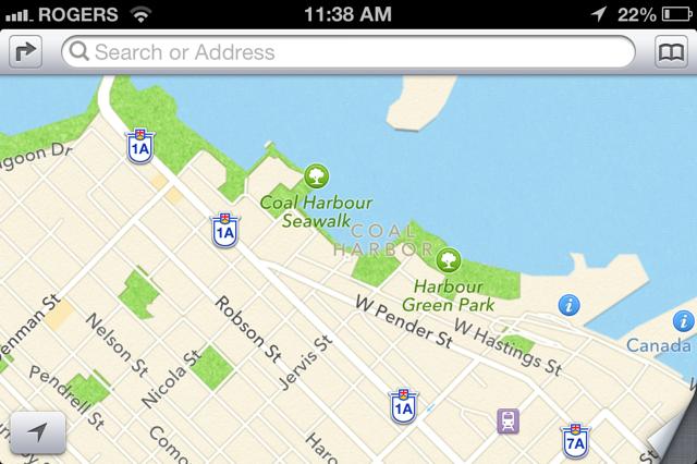 Coal Harbour Apple Maps fail
