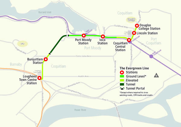 SkyTrain Evergreen Line route map