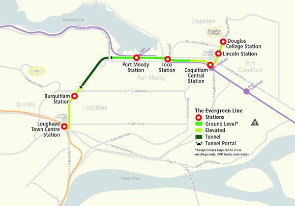 Evergreen Line Map SkyTrain Evergreen Line moving full forward for 2016 arrival  Evergreen Line Map