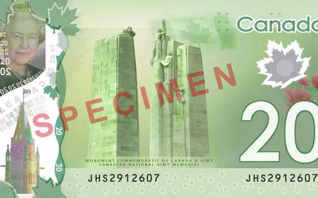 New Canadian $20 bill back