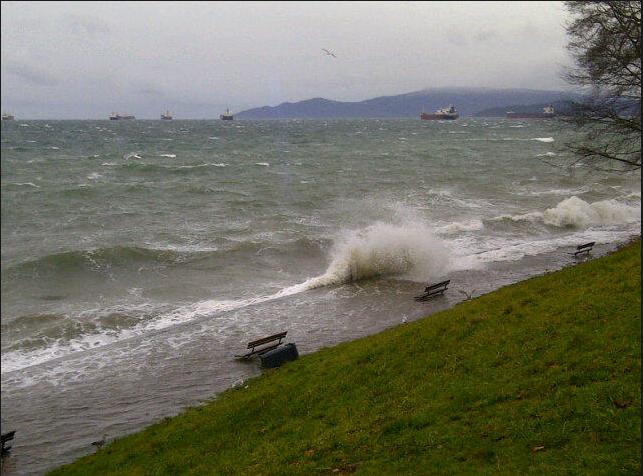 Seawall waves