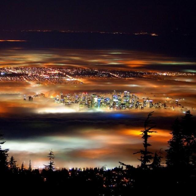 Vancouver fog night