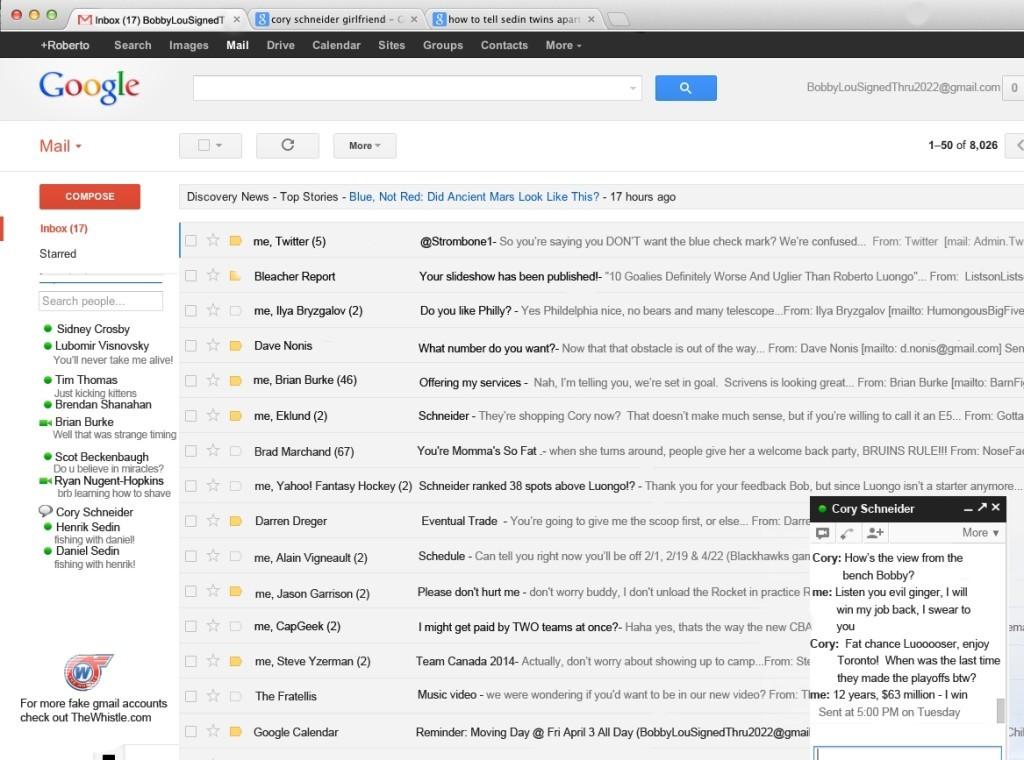 Roberto Luongo Gmail