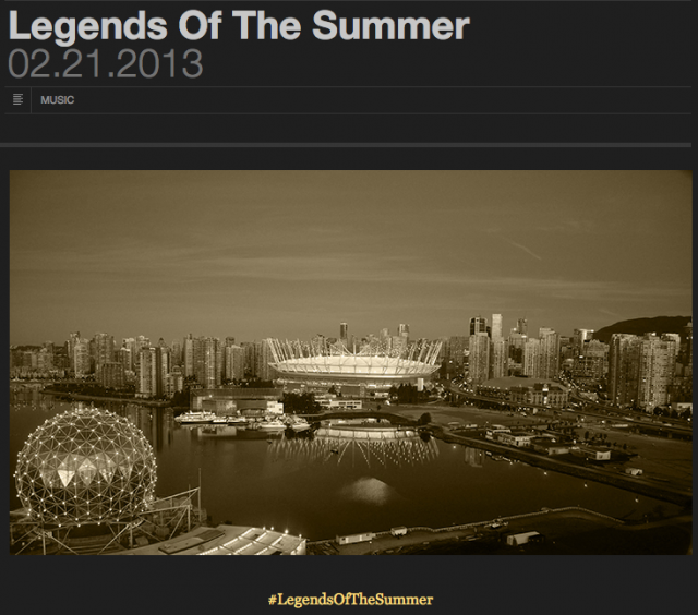 Legends of the summer tour BC Place