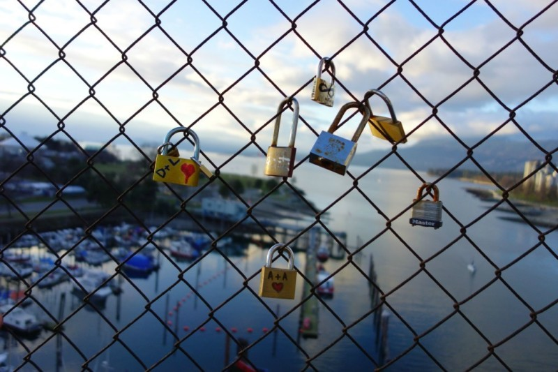 Love locks Burrard Street Bridge