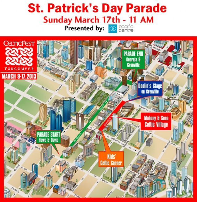 St. Patrick's Day Parade Vancouver 2013 Route Map