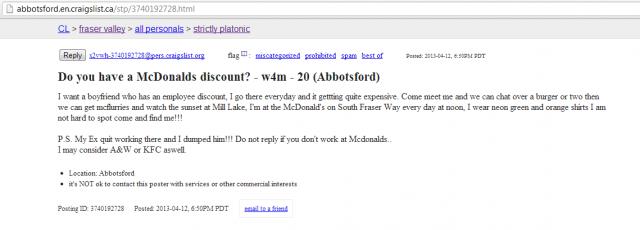 Boyfriend that works at McDonald's