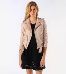 Maje two-tone pink leather motorcycle jacket $990