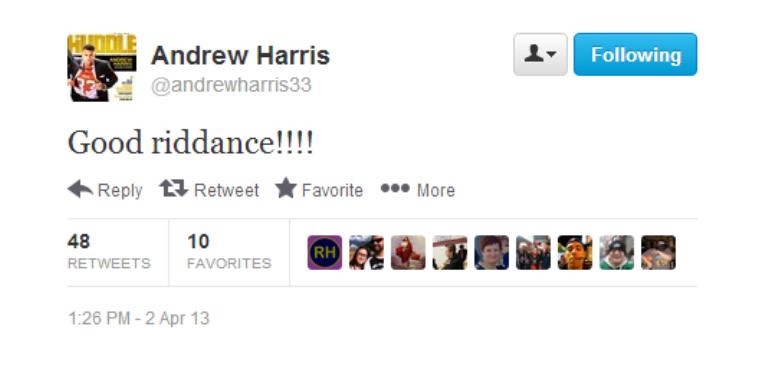 Andrew Harris's tweet regarding Khalif Mitchell