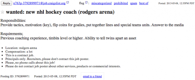 New Canucks Coach Craigslist ad