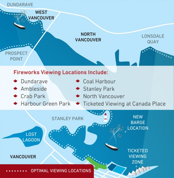 Canada Day Fireworks Map