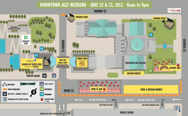 TD Vancouver International Jazz Festival Map