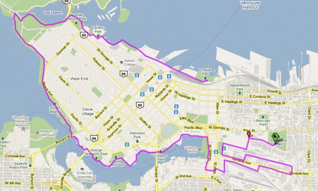 Vancouver Bike Rave Route