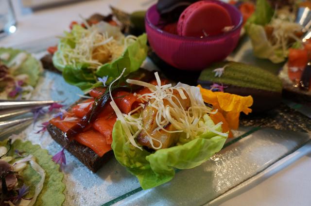 miso-maple glazed sable fish in butter lettuce