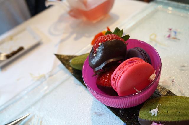 "TWG Tea macarons, chevron strawberry, chocolate dipped ""Matcha"" Madeleine"