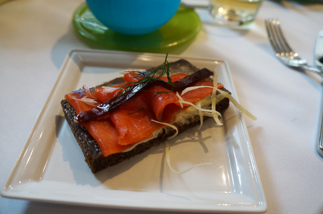 wasabi and smoked salmon with ponzu jelly