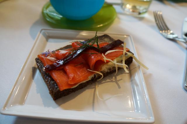 wasabi and smoked salmon with ponzu jelly