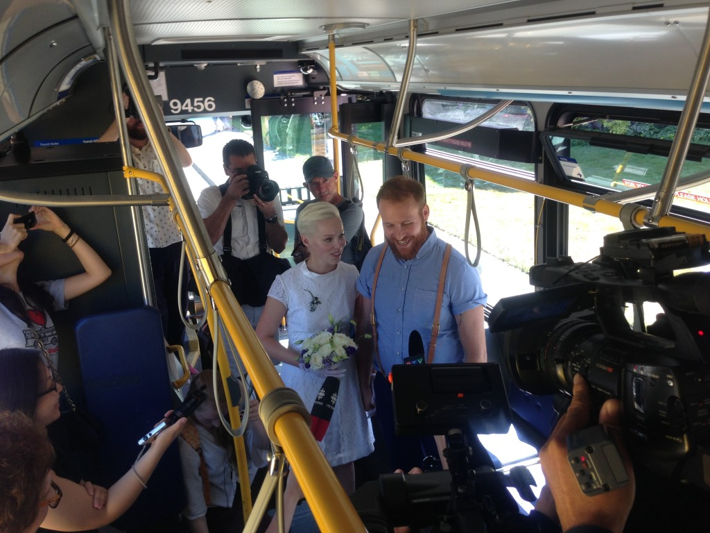Pubic Transit Wedding on Bus