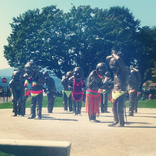 English Bay Statue Pride Yarn Bomb