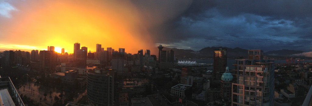 Vancouver storm rainbow sunset