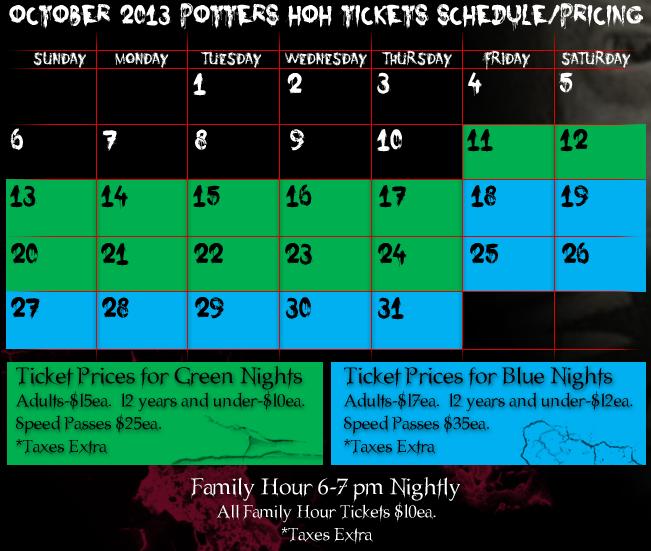 Potters Schedule