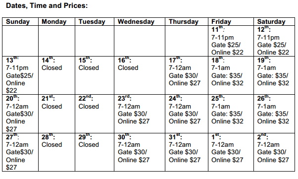 fright night schedule